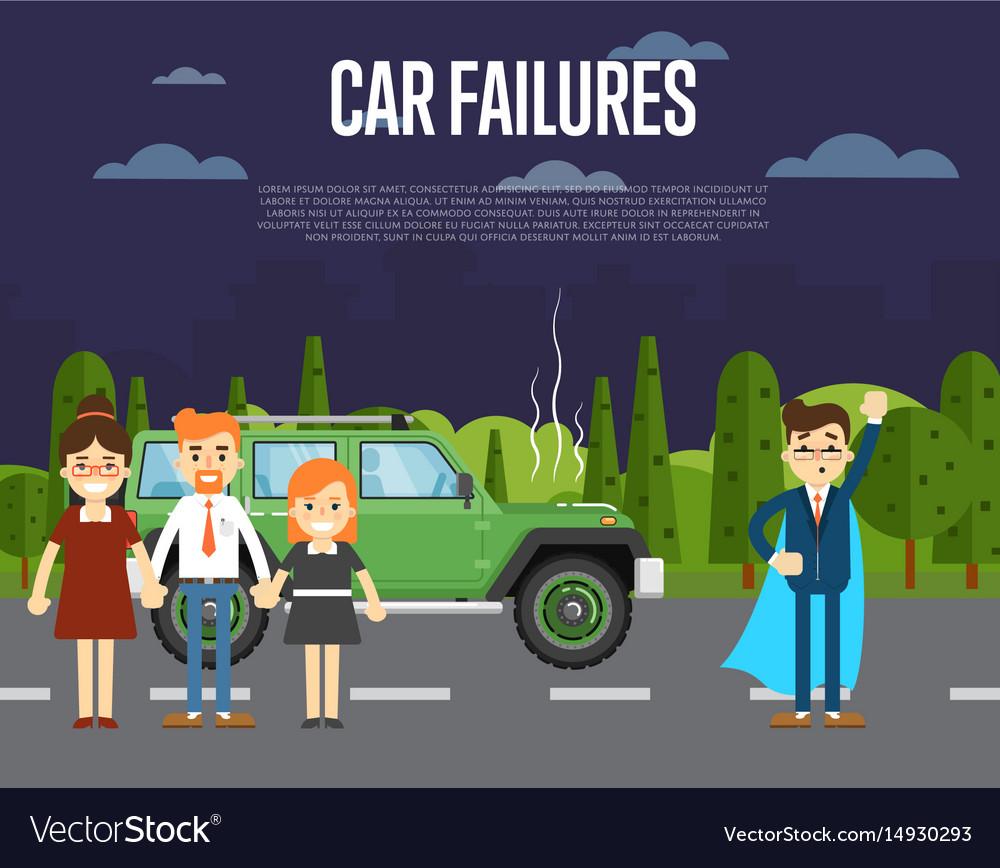 Car failures concept with people near broken car Vector Image