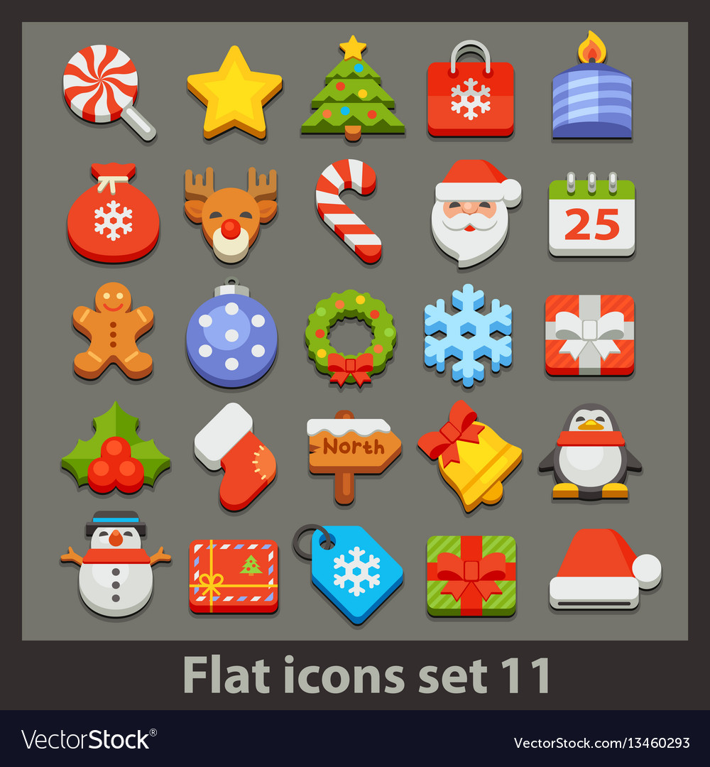 Flat icon-set 11 vector image