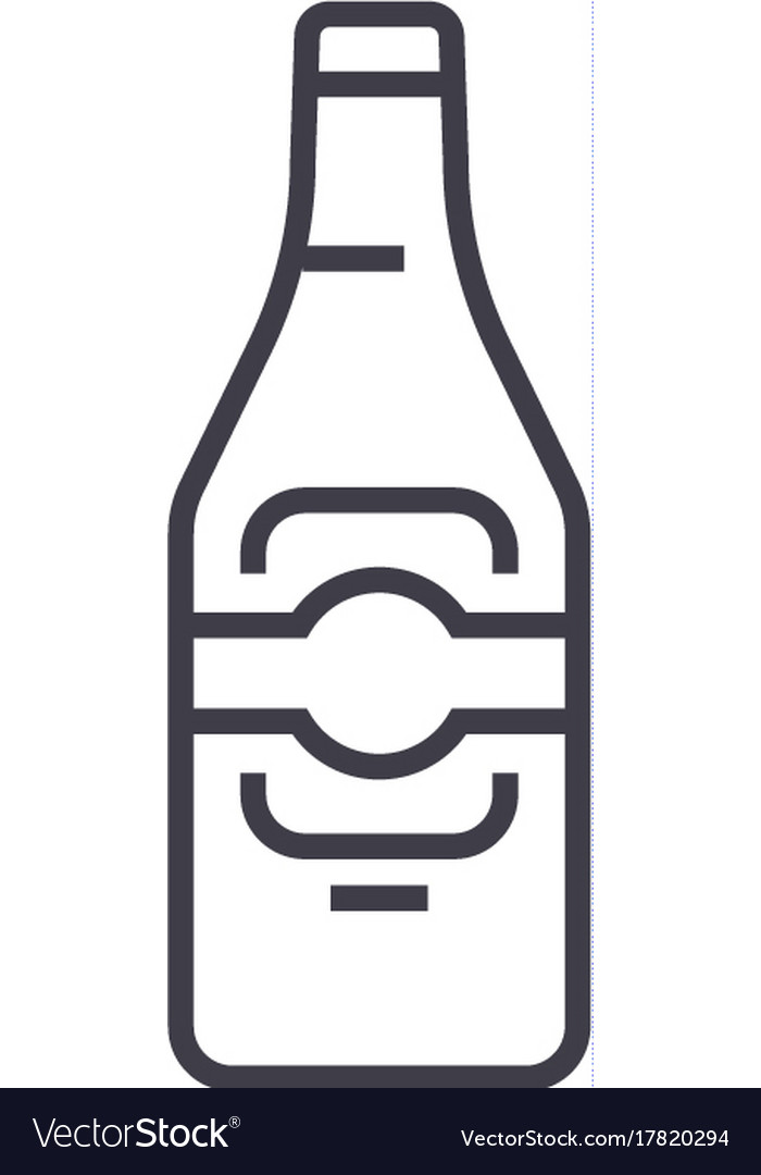 Beer line icon sign on vector image