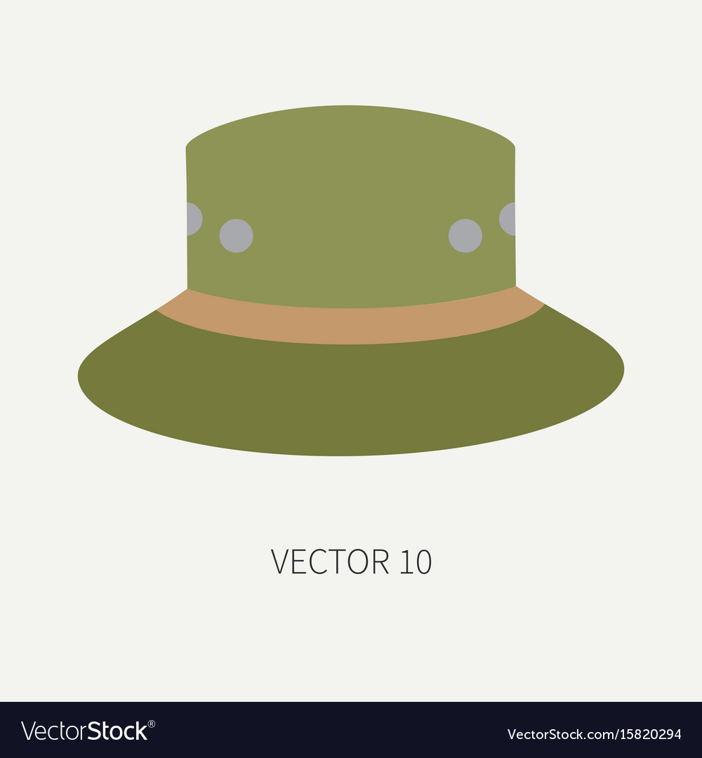 Line tile color hunt and camping icon hat vector image