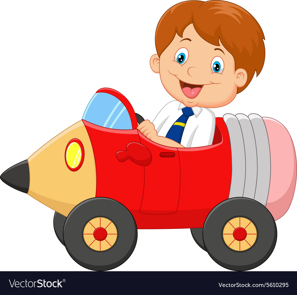 Cartoon boy driving a pencil car vector image