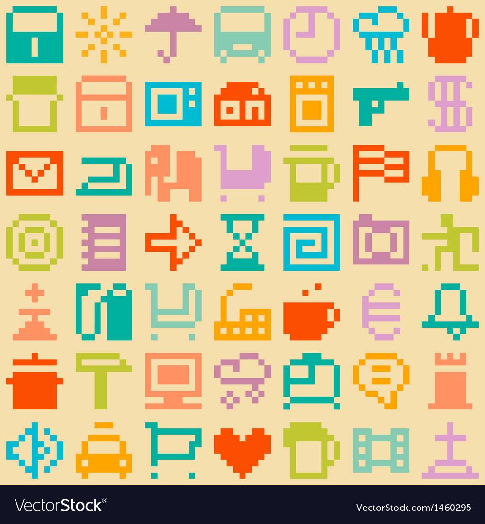 Pixel seamless pattern vector image