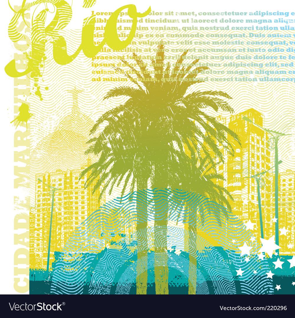 Tropical urban landscape vector image