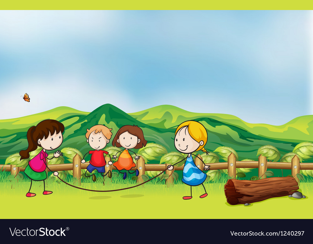 Kids playing jumping rope at the bridge vector image