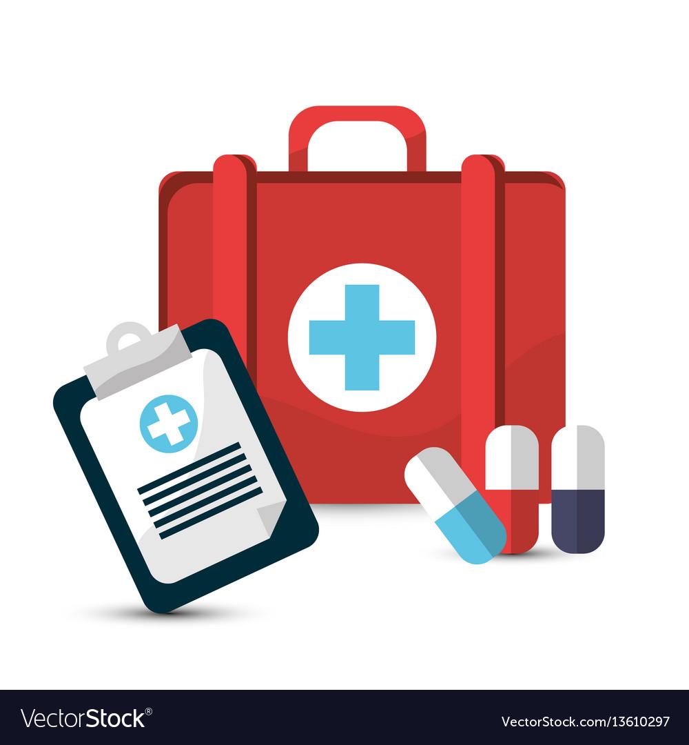 Hospital prescription pill capsule suitcase icon vector image