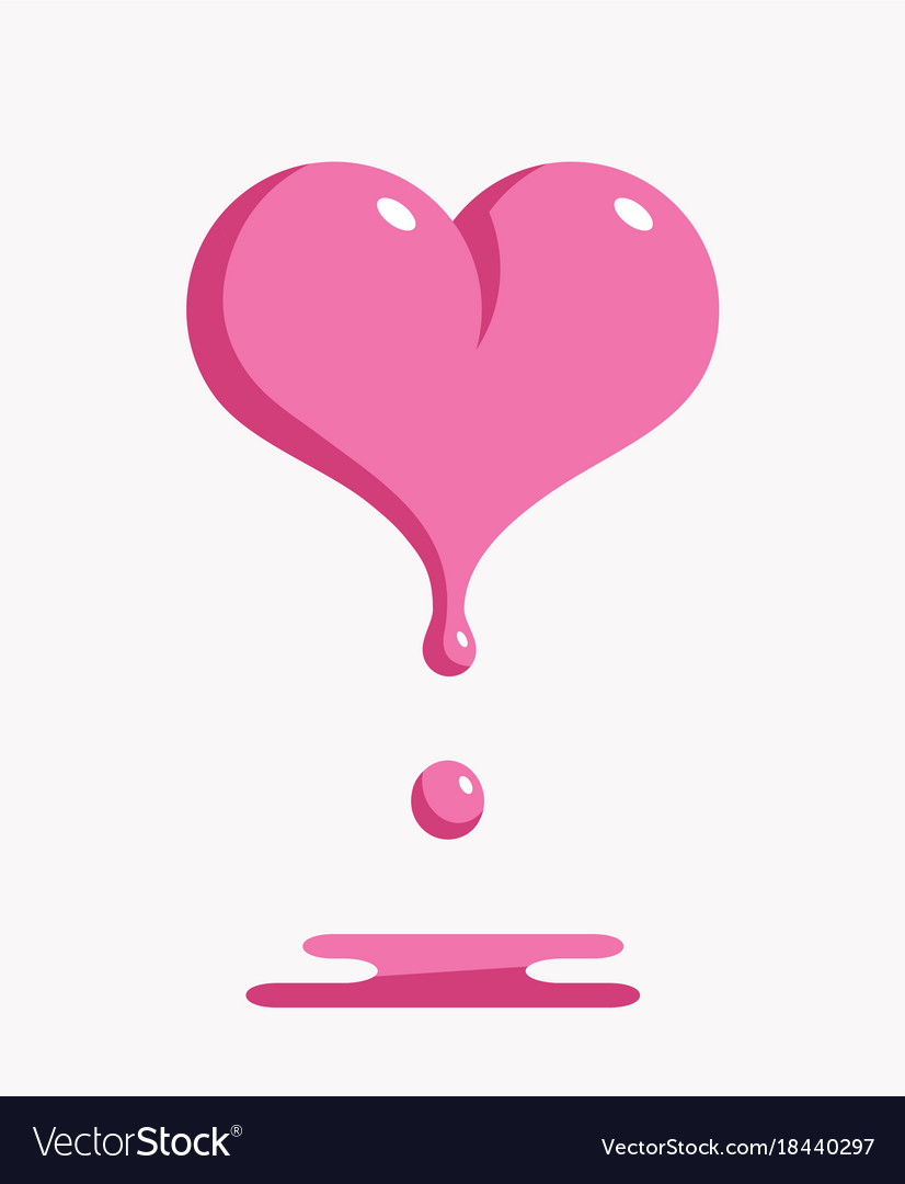 Melting pink heart vector image