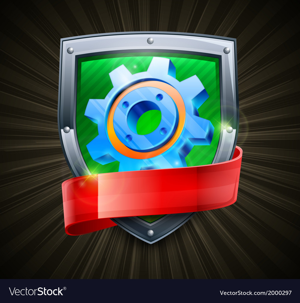 Shield with gear on black vector image