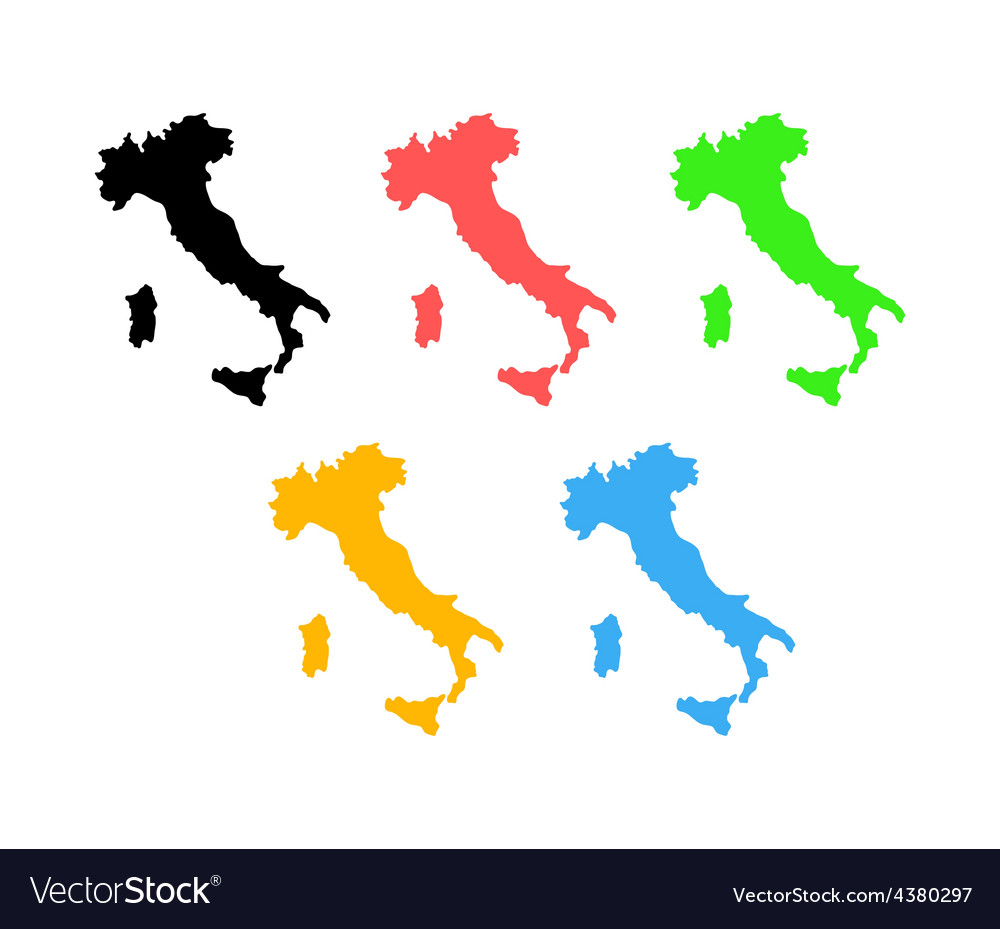 Silhouette of Italy on map vector image