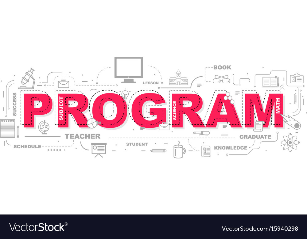Design concept of word program website banner vector image