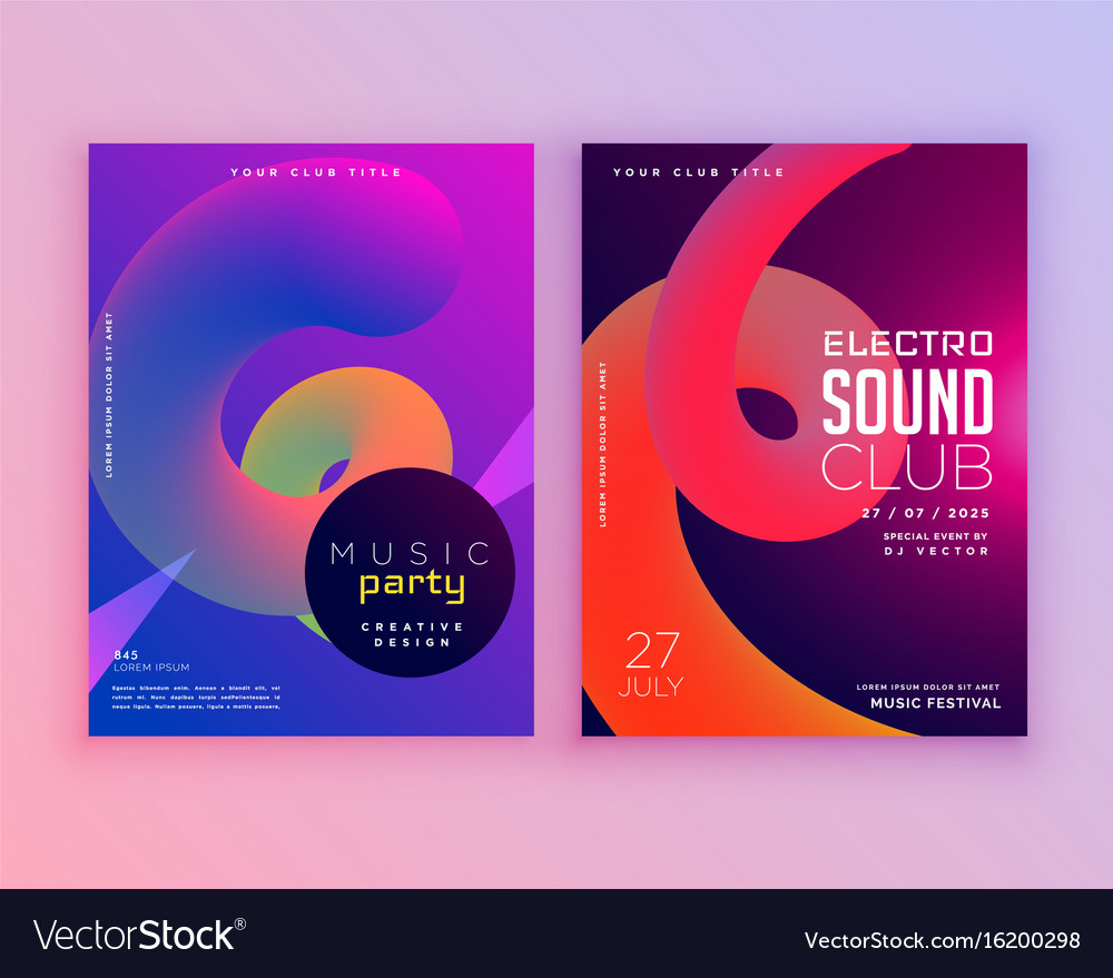 Electro sound club music flyer template design vector image