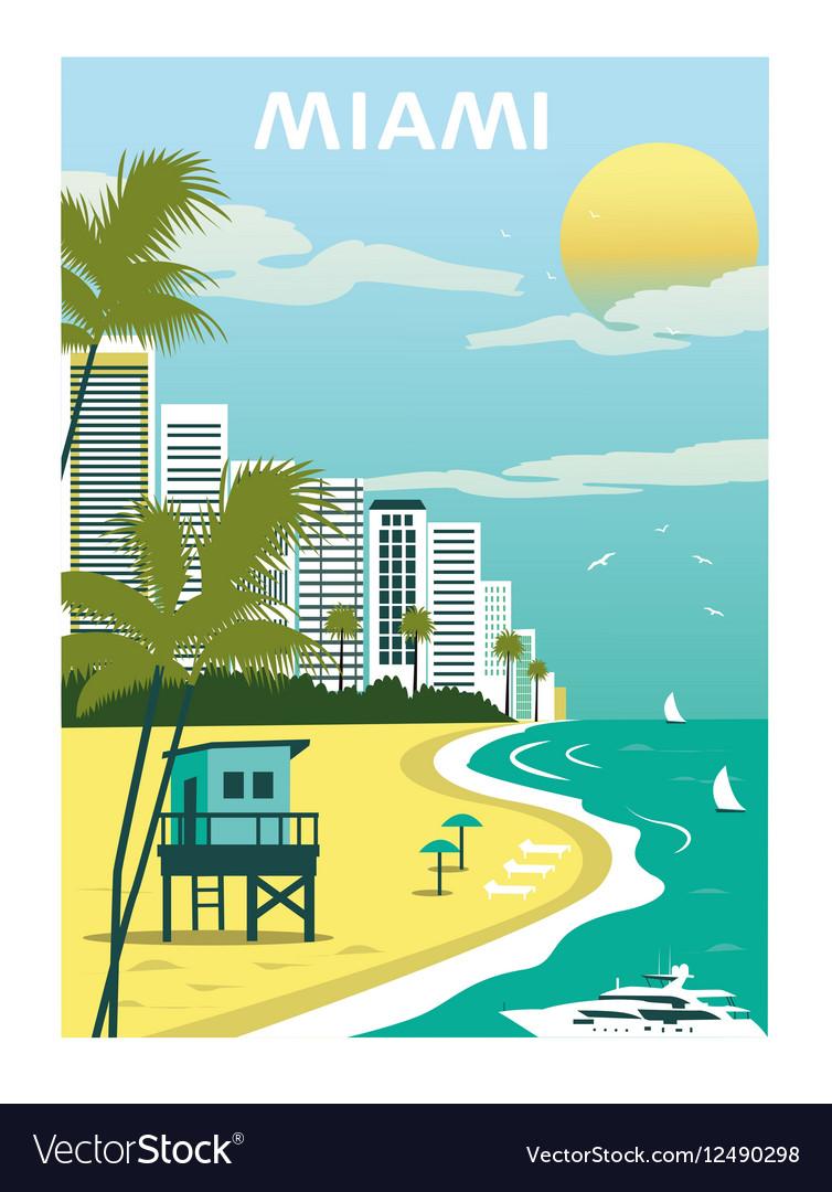 Miami Beach Florida vector image