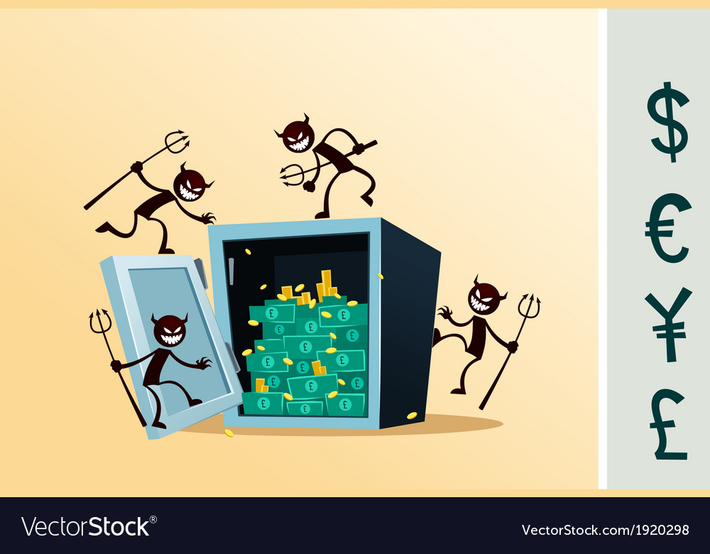 Safe deposit box damaged by thief vector image