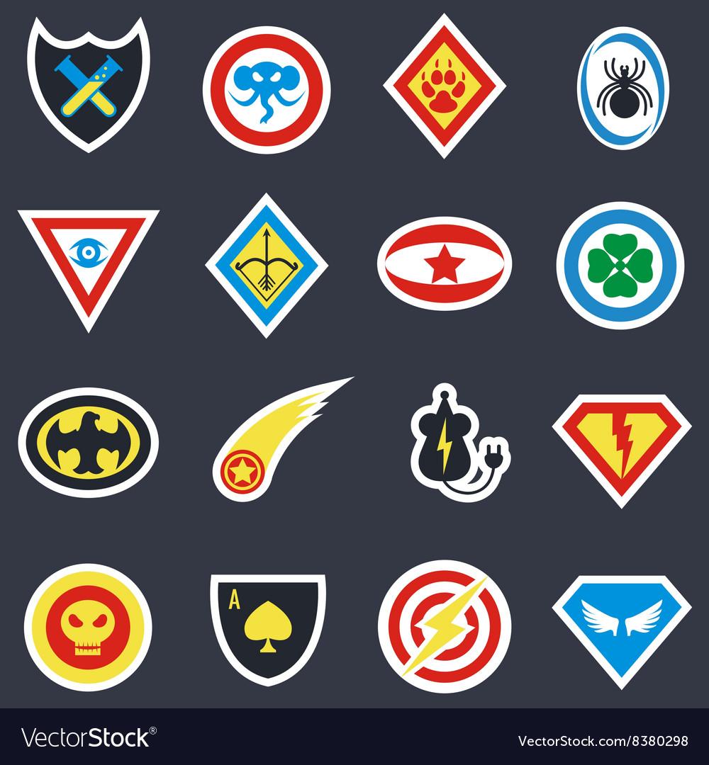 Superhero color badges emblems logos vector image