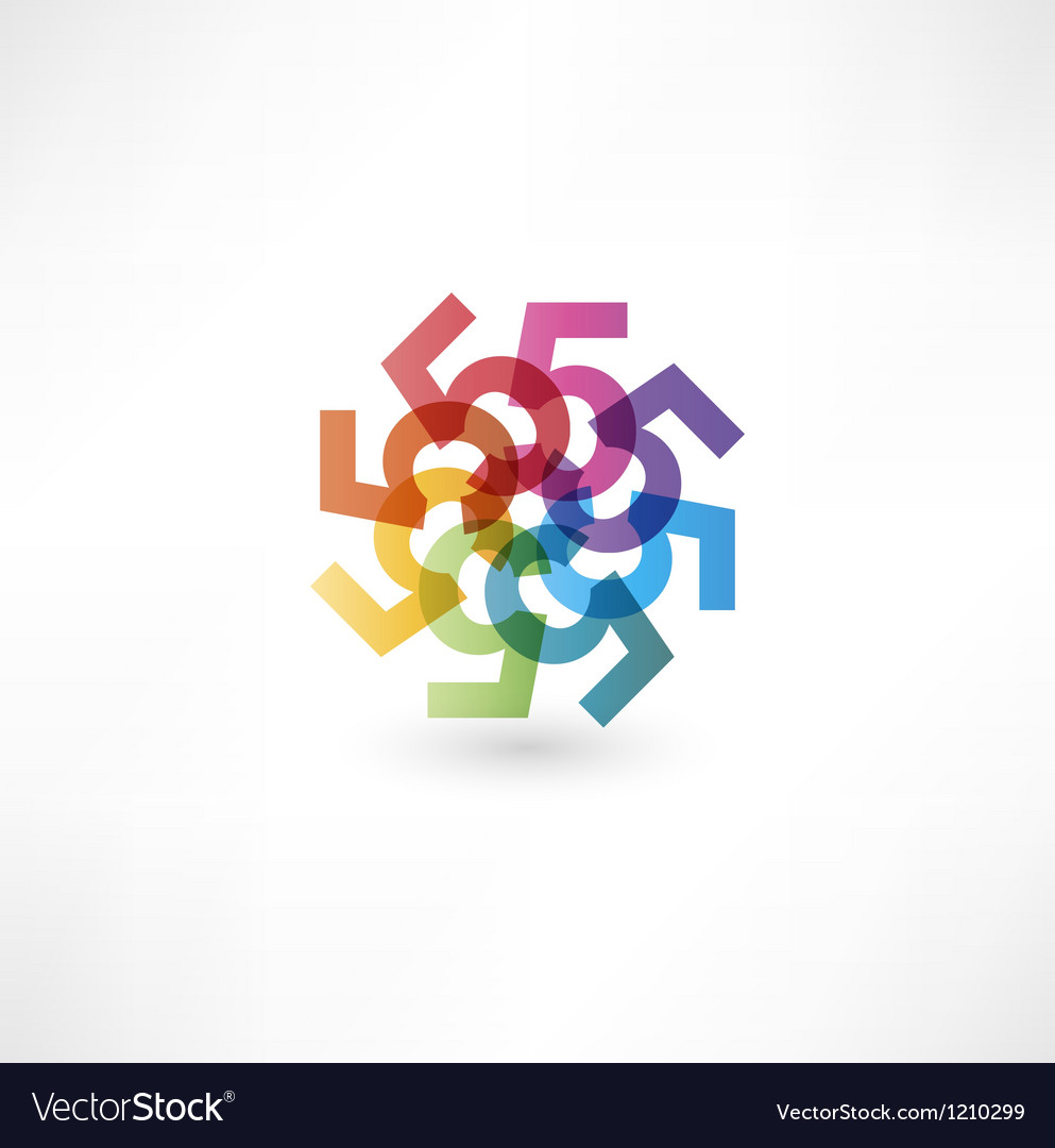 Full color abstract figure of the numbers 5 vector image