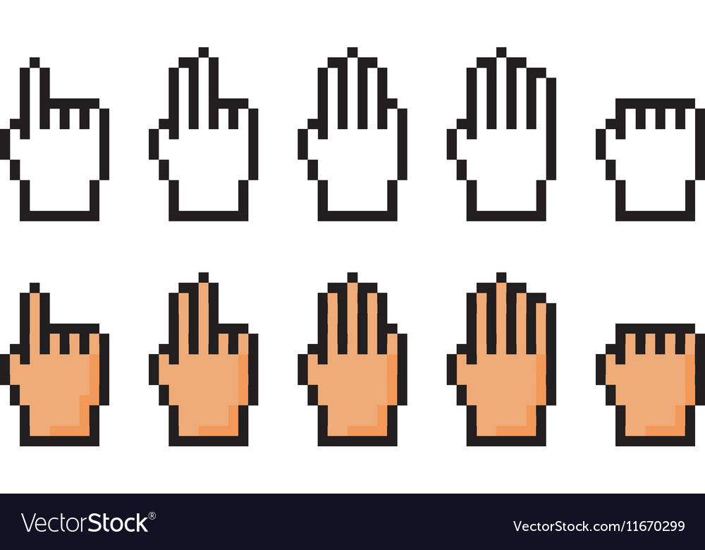 Set of pixel icons of hand Score one two three vector image
