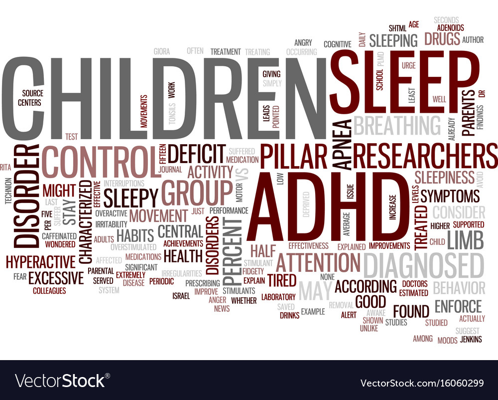 Your adhd child may just be tired text background vector image