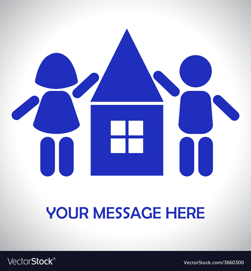 Silhouettes of children around the House vector image