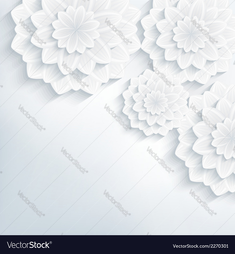 Floral abstract background with 3d flowers blossom vector image