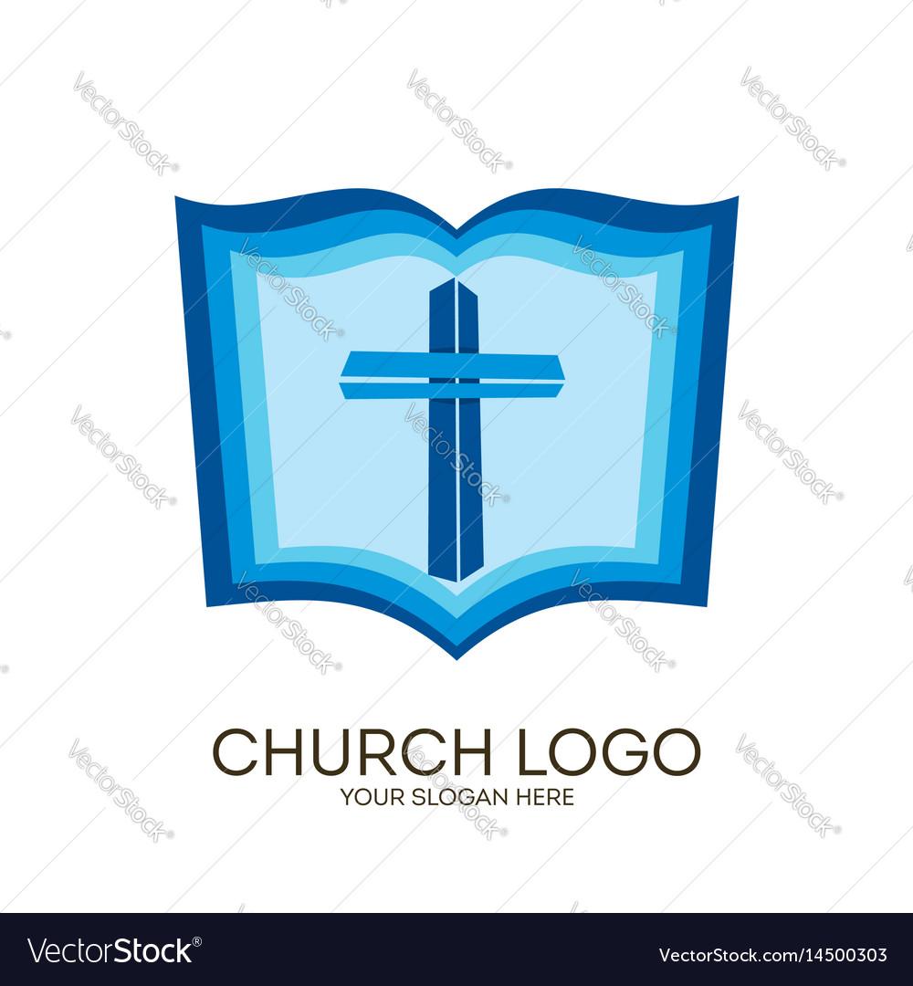 Jesus cross and bible vector image