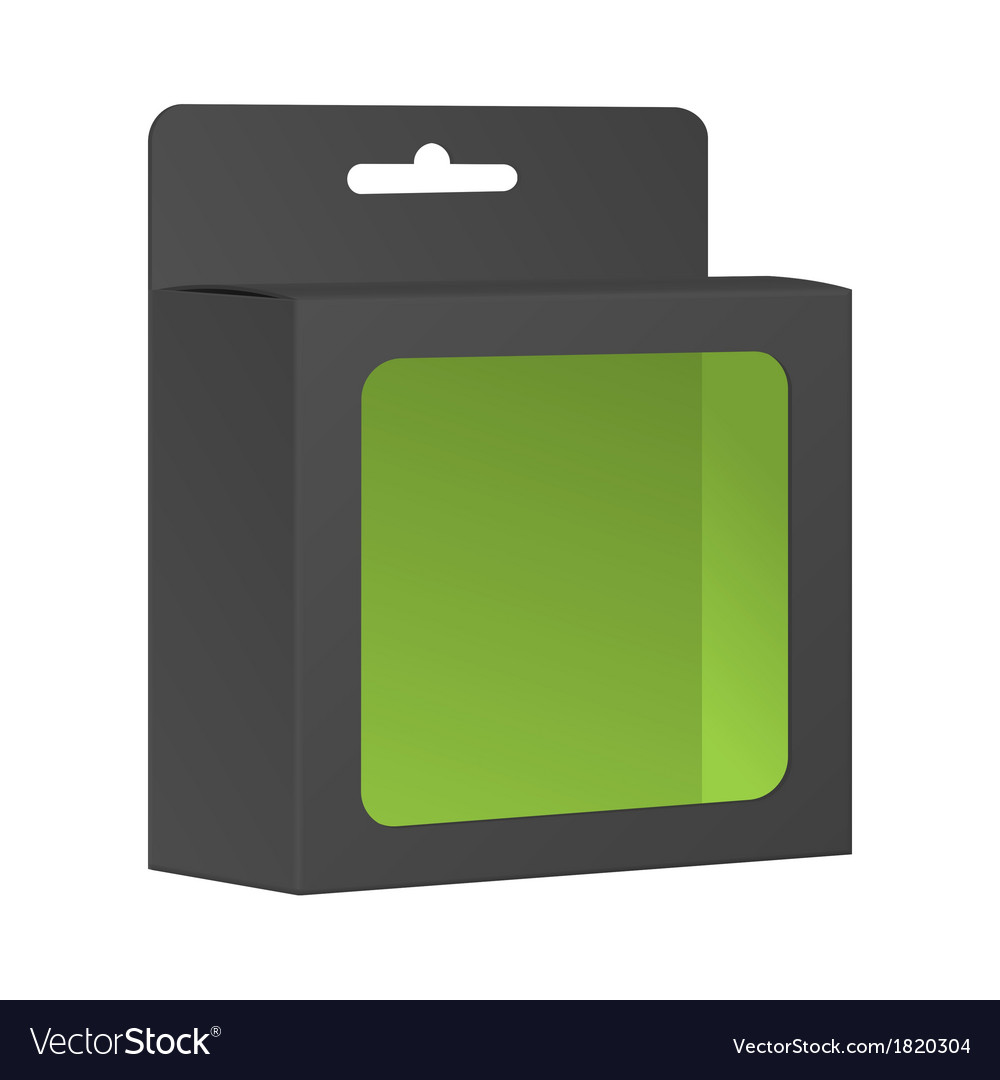 Blank Black Product Package Box With Window vector image