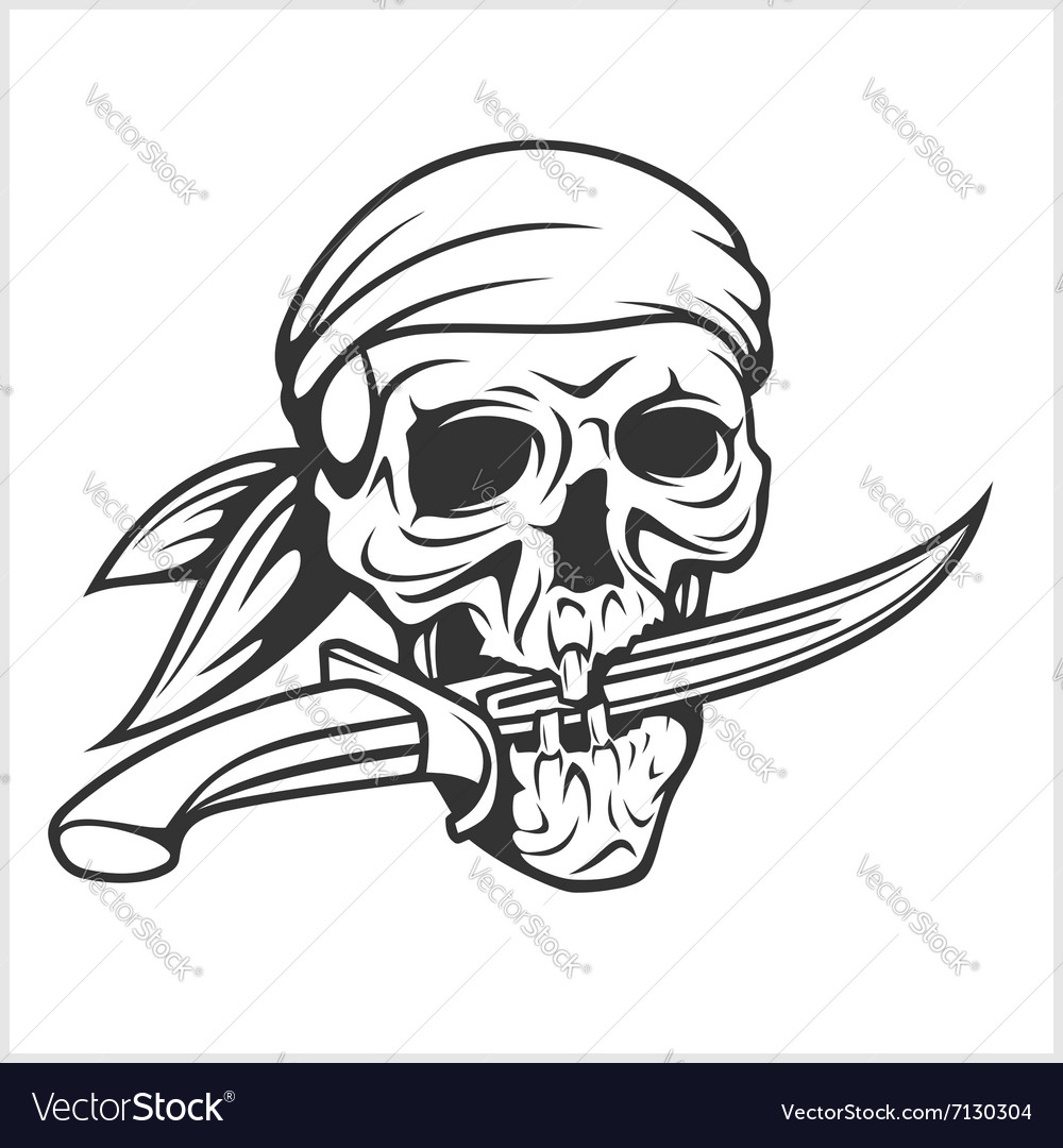 pirate skull in headband with sword royalty free vector