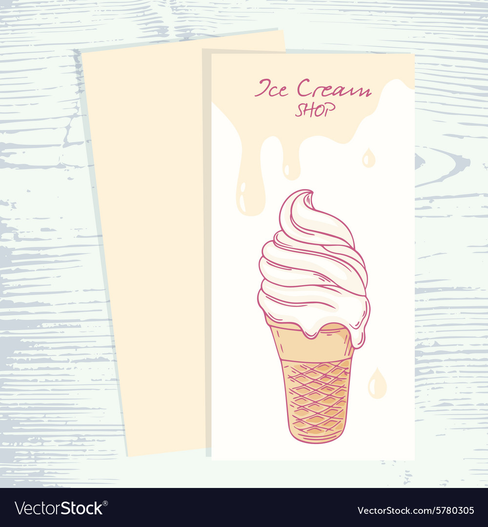 Cafe menu template with hand drawn ice cream Vector Image