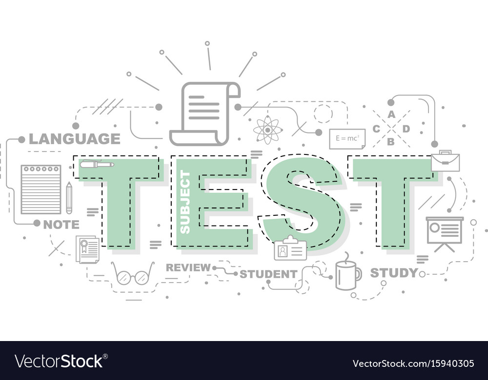 Design concept of word test website banner vector image