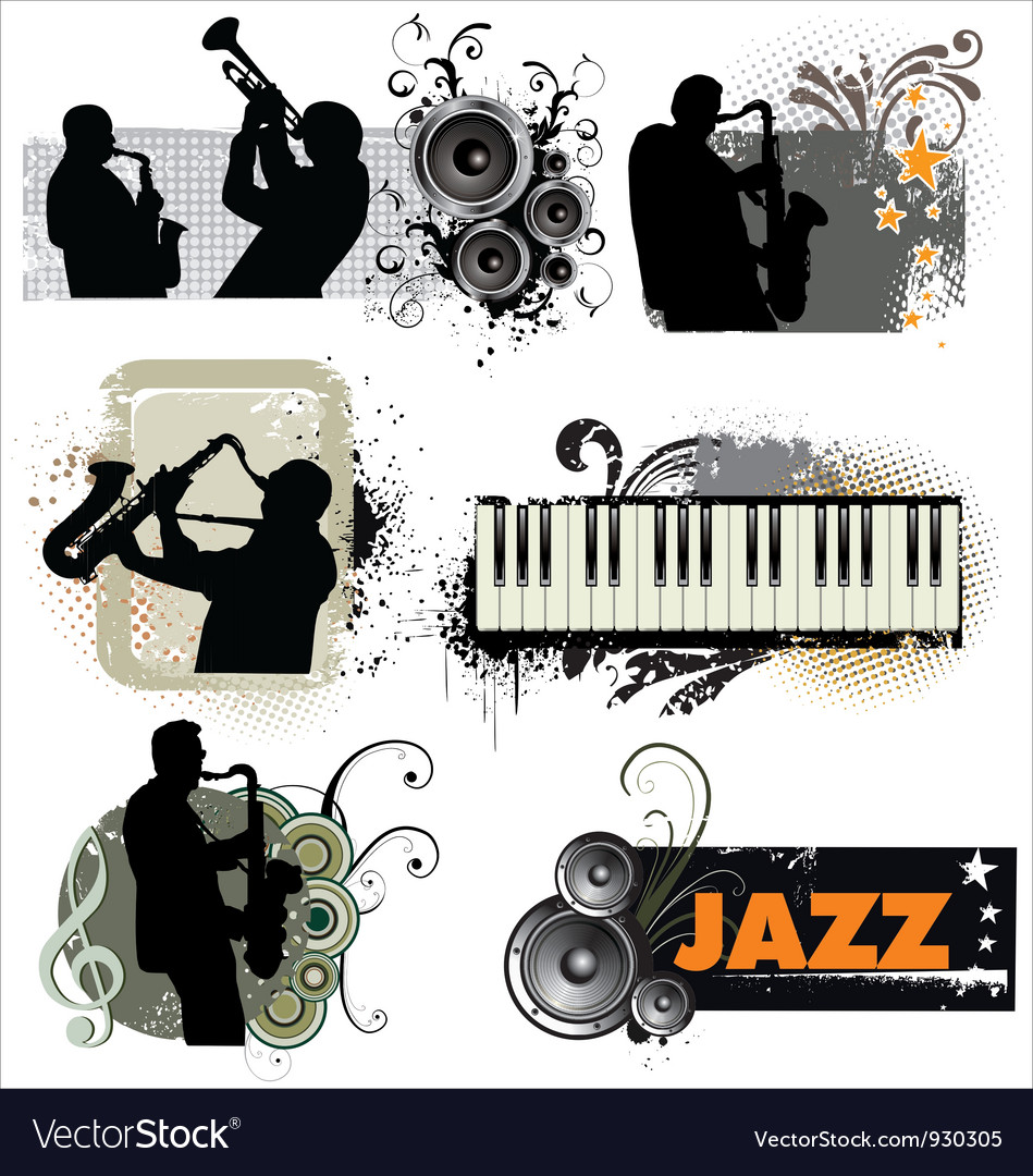 Grunge Jazz banners vector image