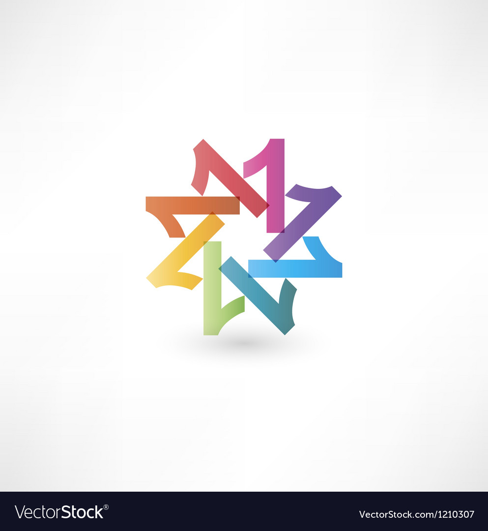 Full color abstract figure of the numbers 1 Vector Image