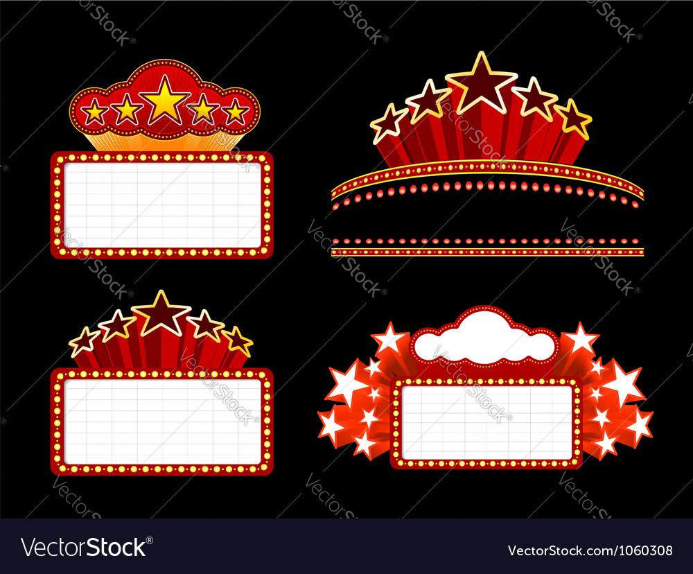 Retro illuminated Movie marquee Blank sign vector image