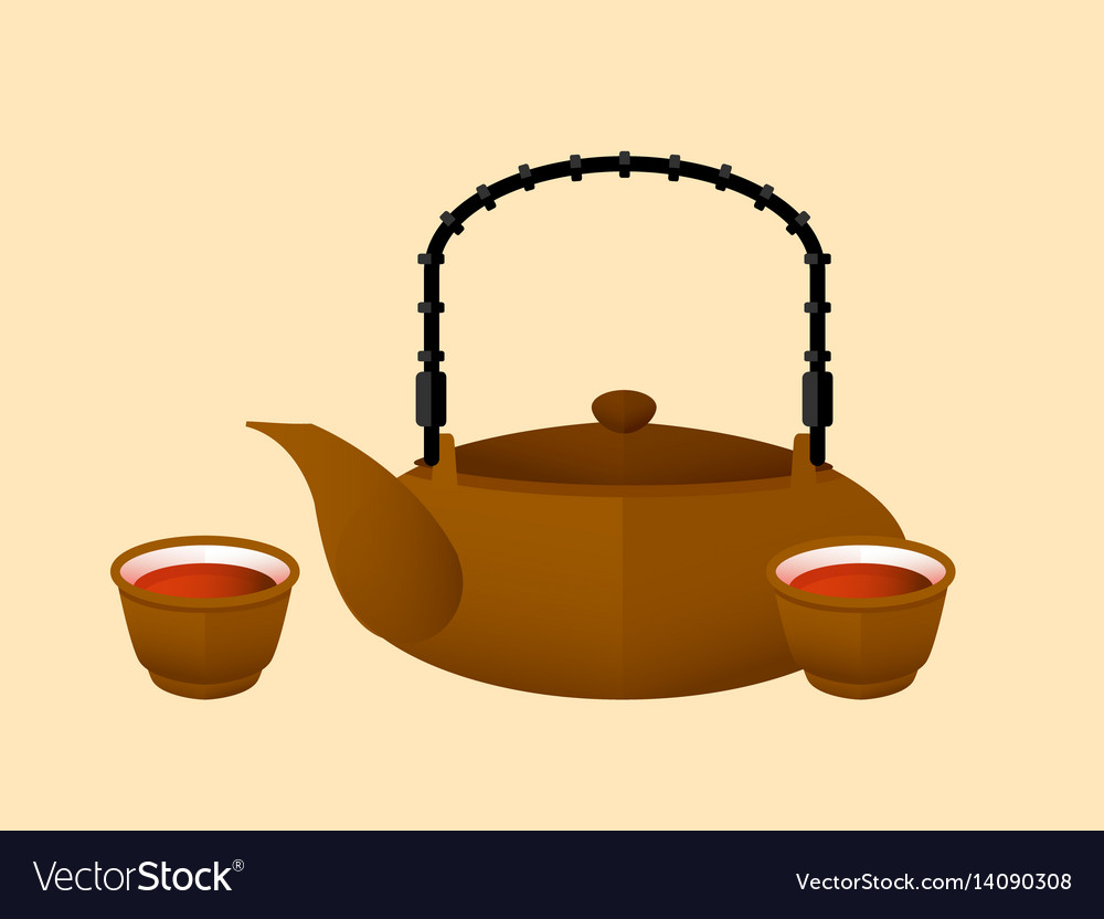 Chinese red tea flat concept vector image