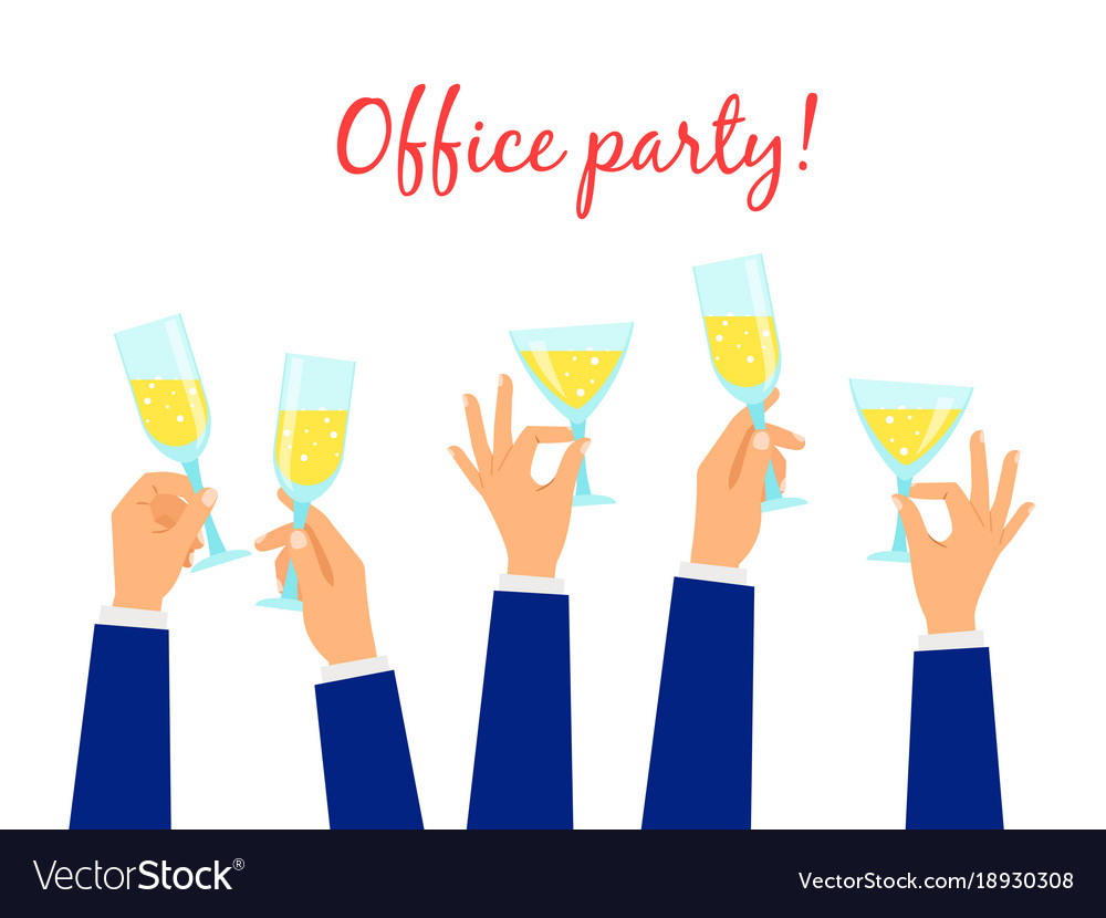 Hands holding champagne glasses party background vector image