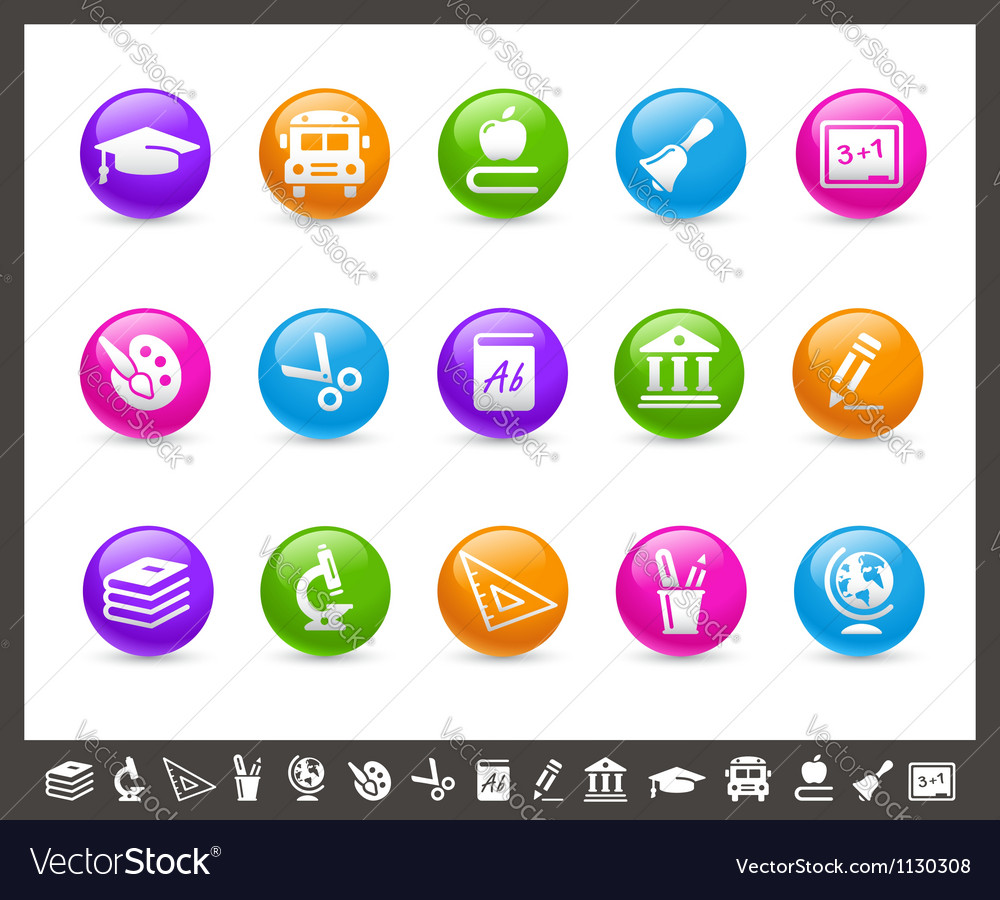 School and Education Icons Rainbow Series vector image