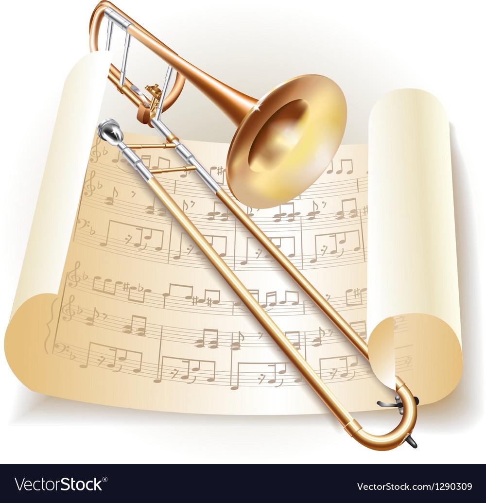 Classical trombone vector image