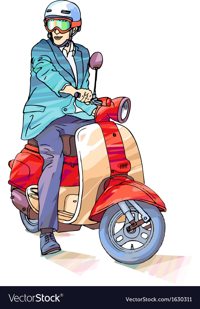 Businessman on the Scooter vector image