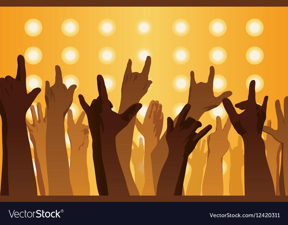Rock concert Hands up vector image