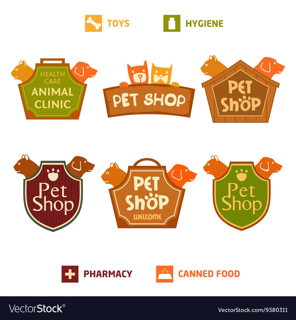 Set of logo on heraldic shield for pet shop vector image