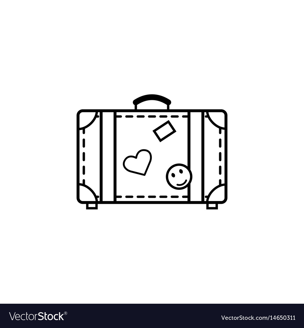 Travel bag line icon travel tourism vector image