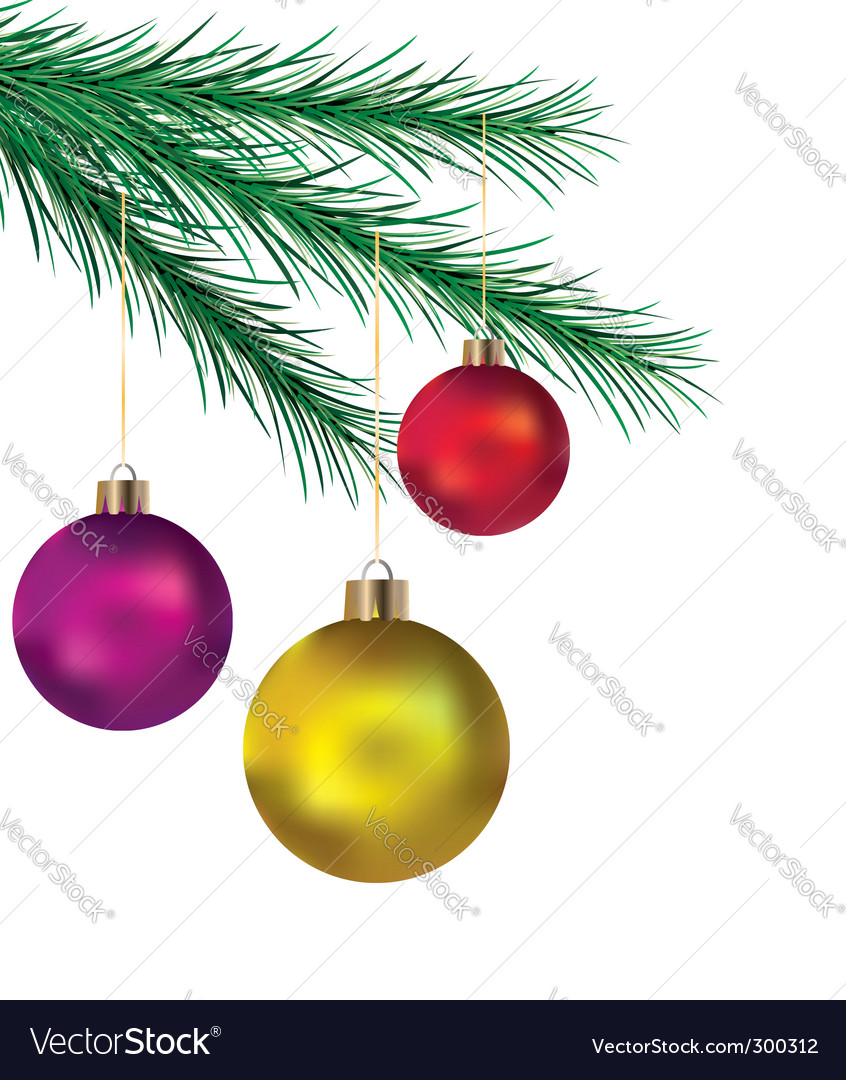 Balls on Christmas tree vector image
