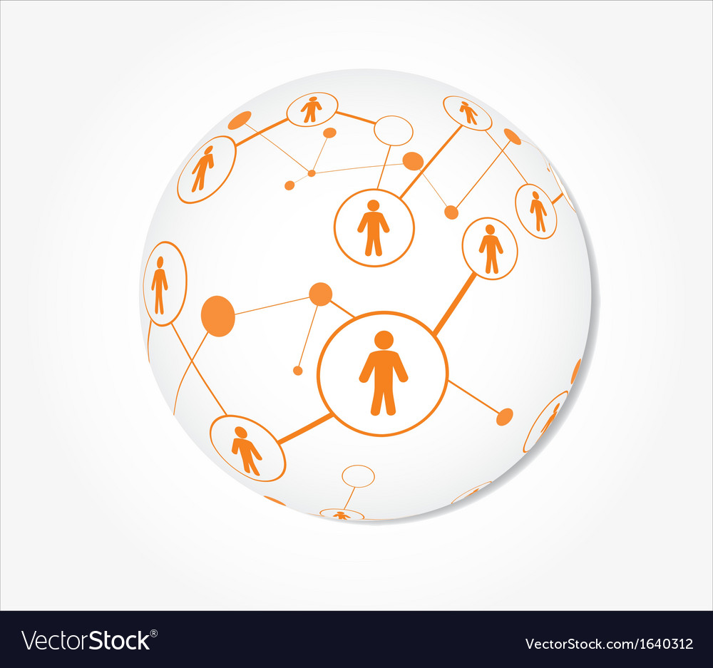 Human connection in a sphere vector image