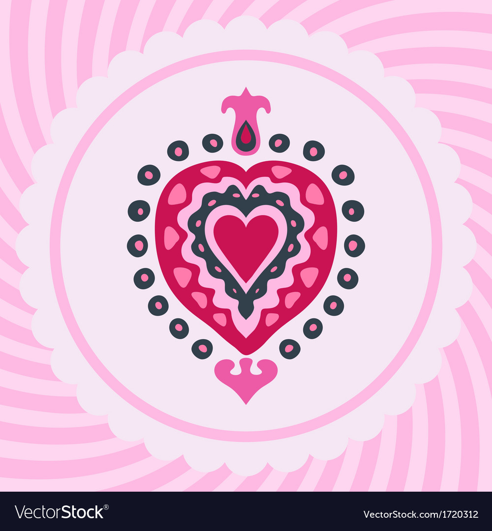 Love heart decorative invitation vector image