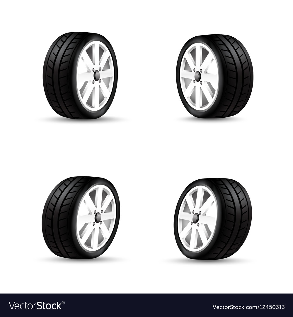 Collection of car wheels and racing tire isolated Vector Image for Racing Tire Vector  181plt