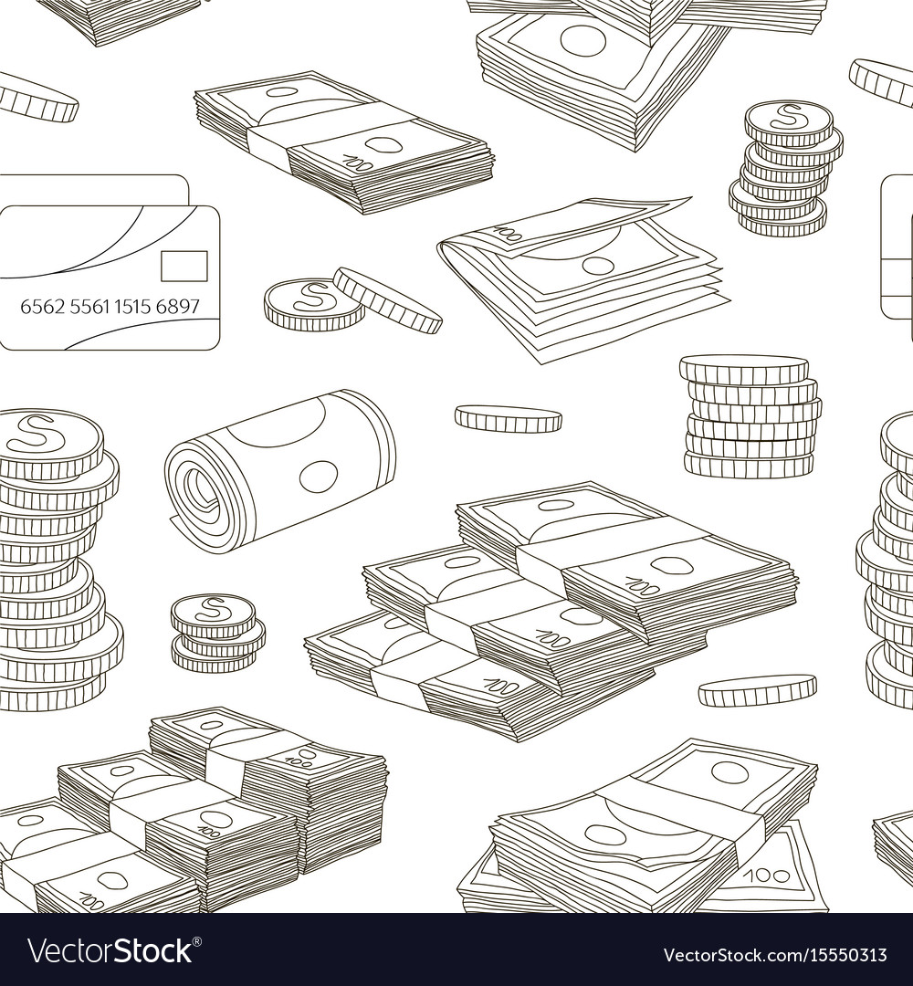 Money set pattern vector image