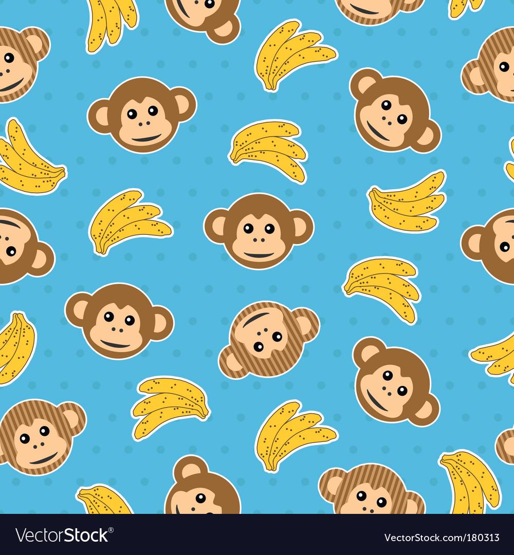 Monkey wallpaper pattern vector image