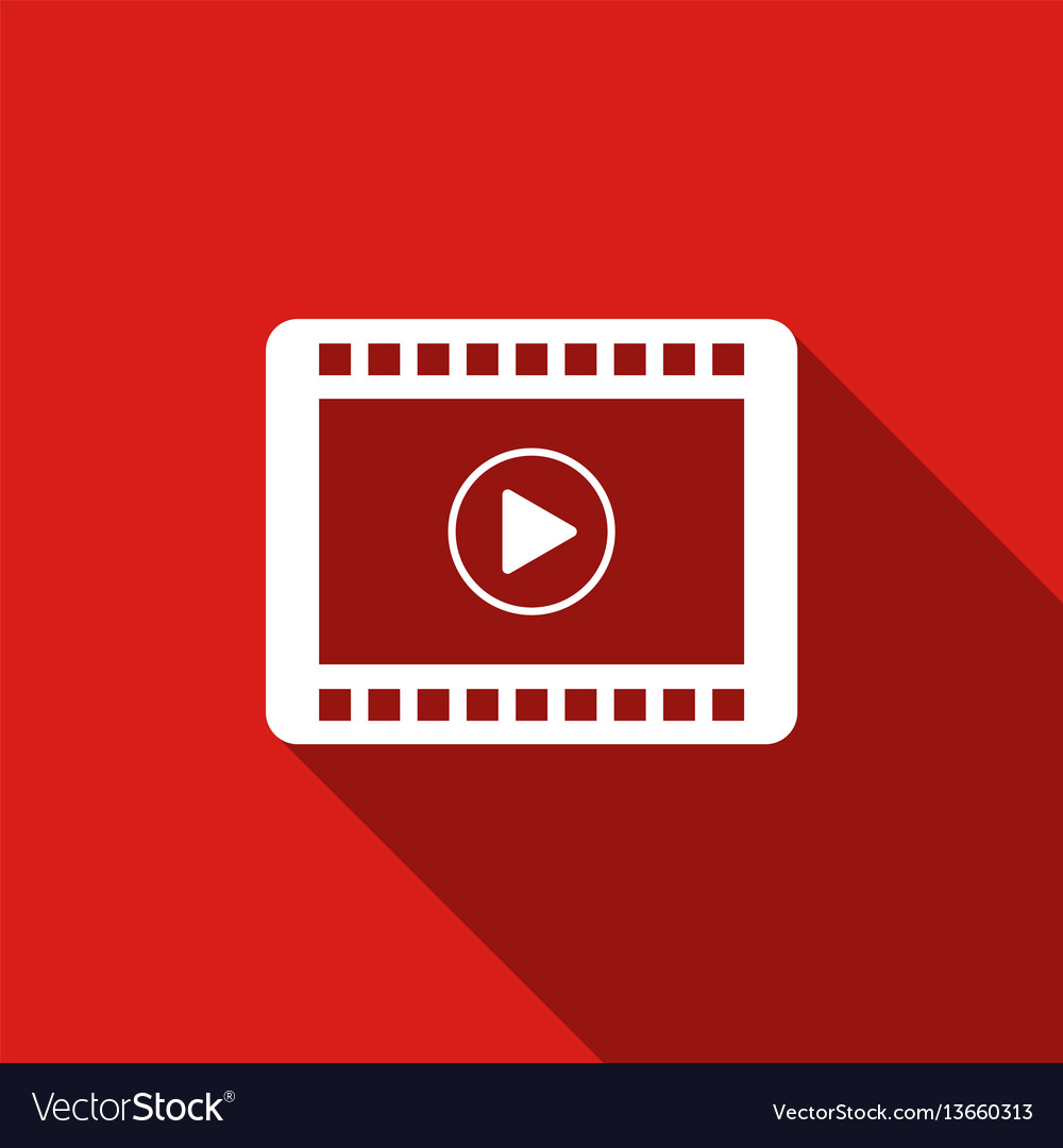Video flat icon with long shadow vector image