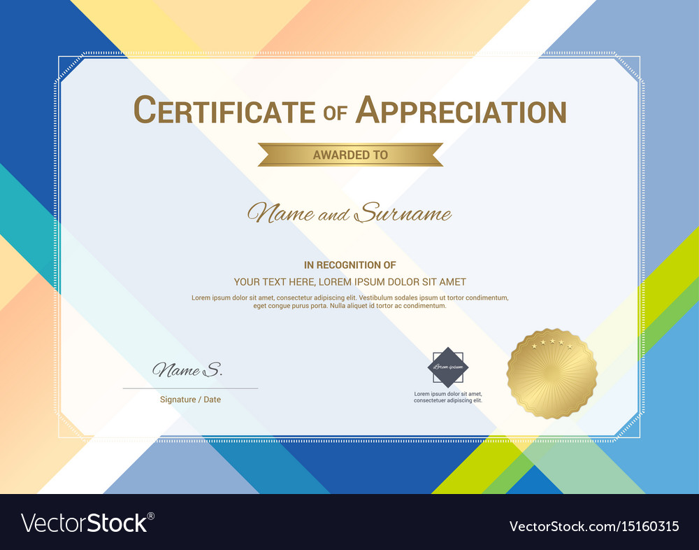 Modern certificate of appreciation template with vector image yelopaper Image collections
