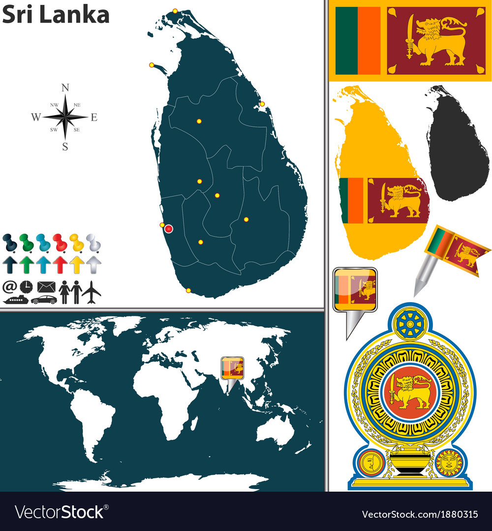 Sri Lanka map world vector image