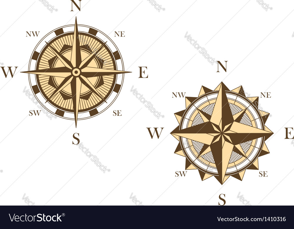 Two vintage compasses Vector Image