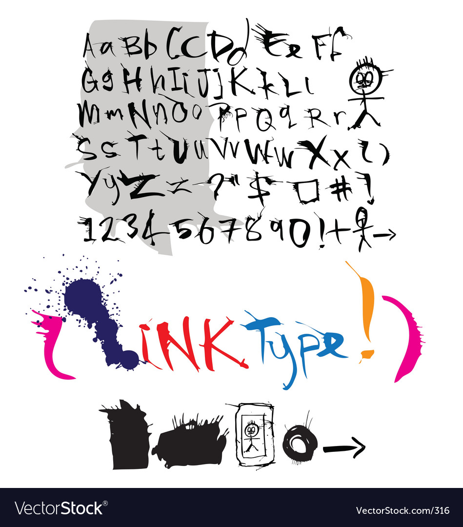 Ink style type vector image
