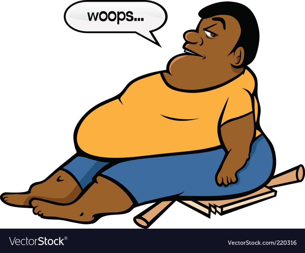 Fat black guy vector image